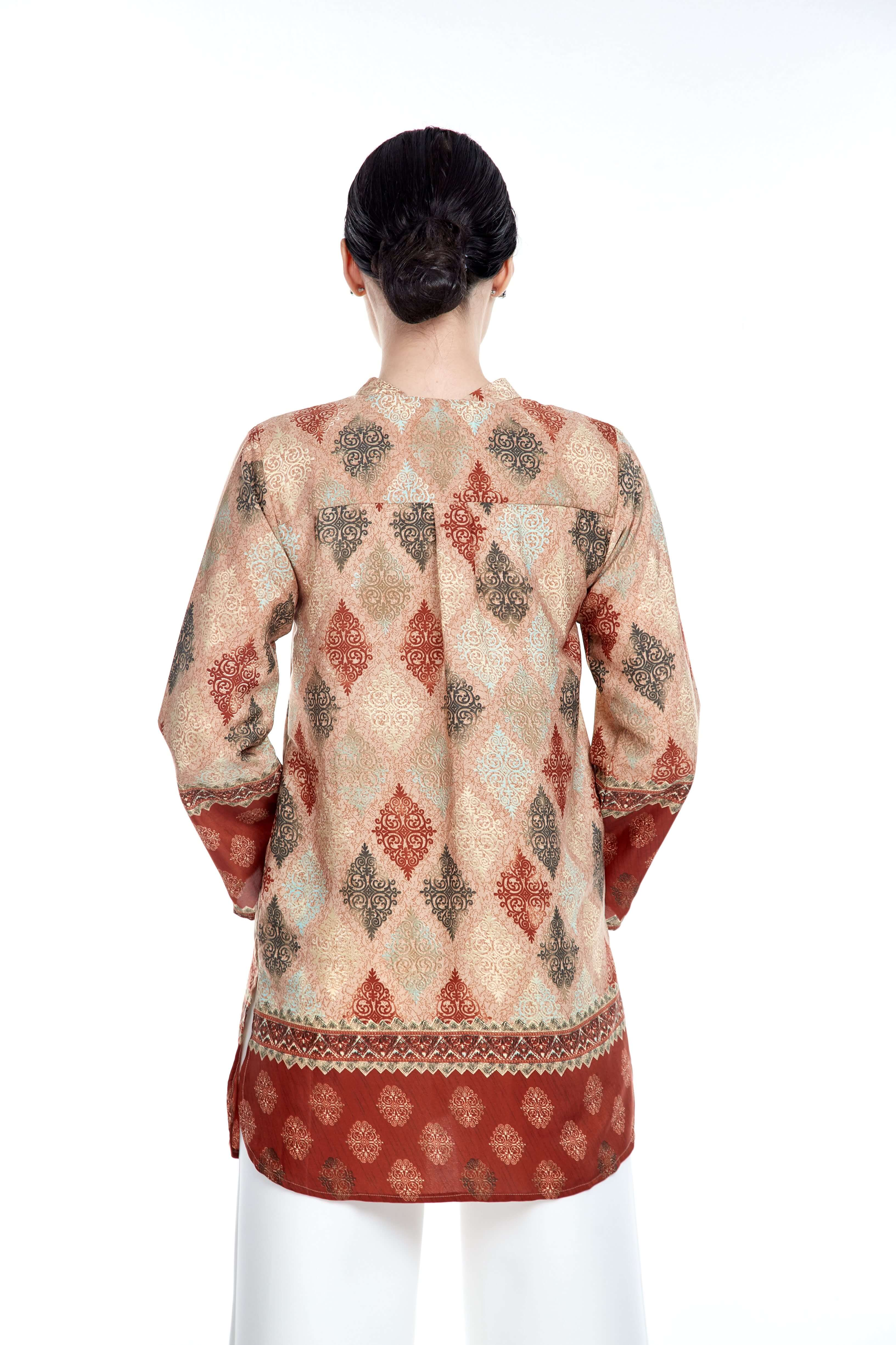 Rust Border Stand Collar Blouse (2)