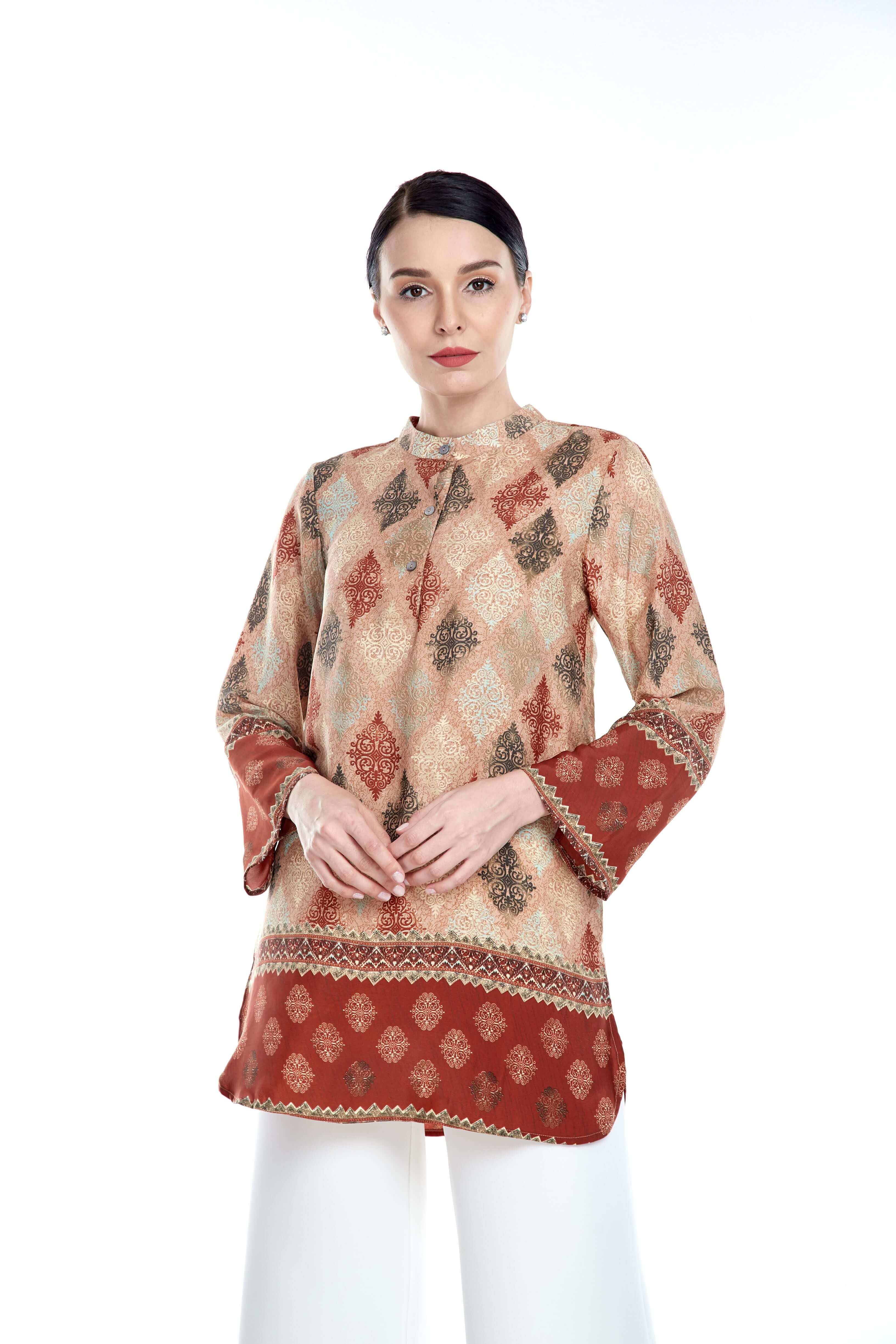 Rust Border Stand Collar Blouse (4)