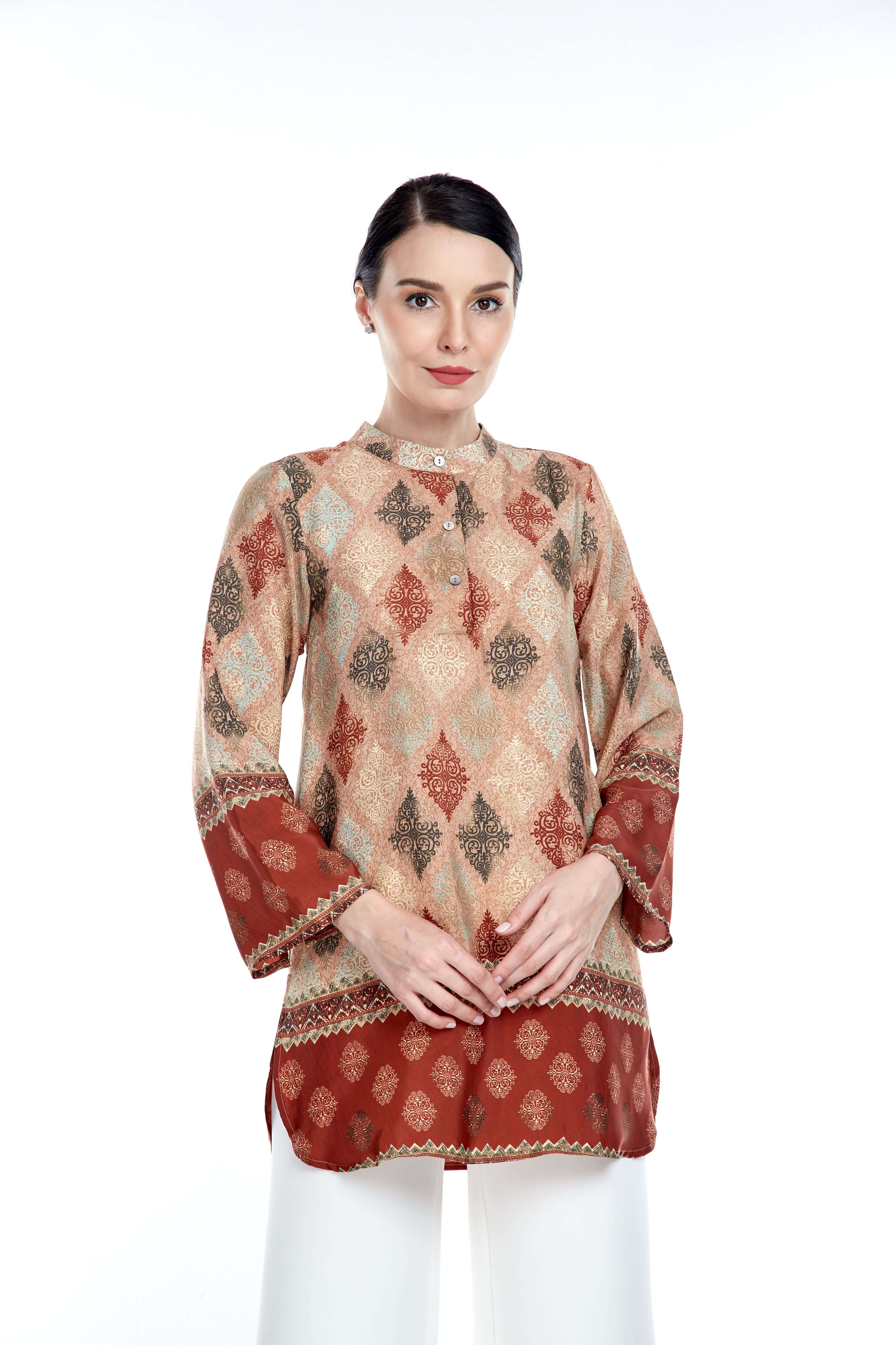 Rust Border Stand Collar Blouse (5)
