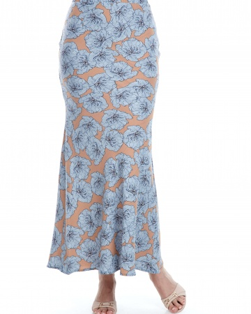 Beige Blue Flower Mermaid Skirt