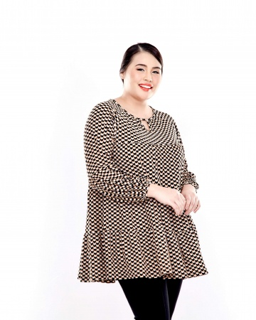 Black-Beige Layers Gathers Blouse