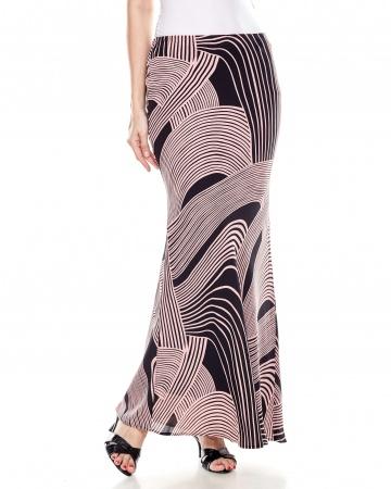 Black-Pink Printed Mermaid Skirt
