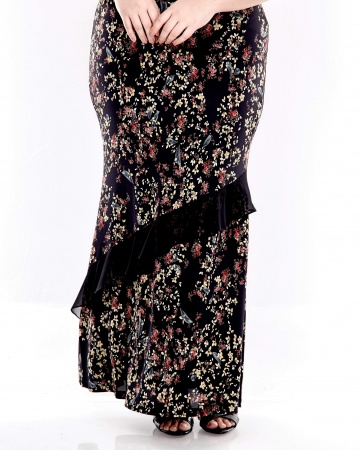Black Printed Long Skirt With Chiffon Ruffle Front
