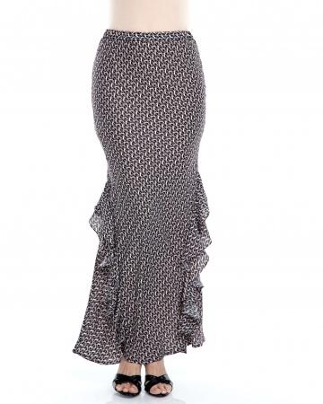 Black Printed Ruffle Mermaid Skirt
