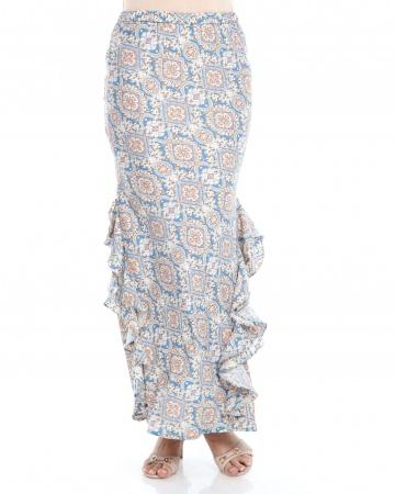 Blue Printed Ruffle Mermaid Skirt
