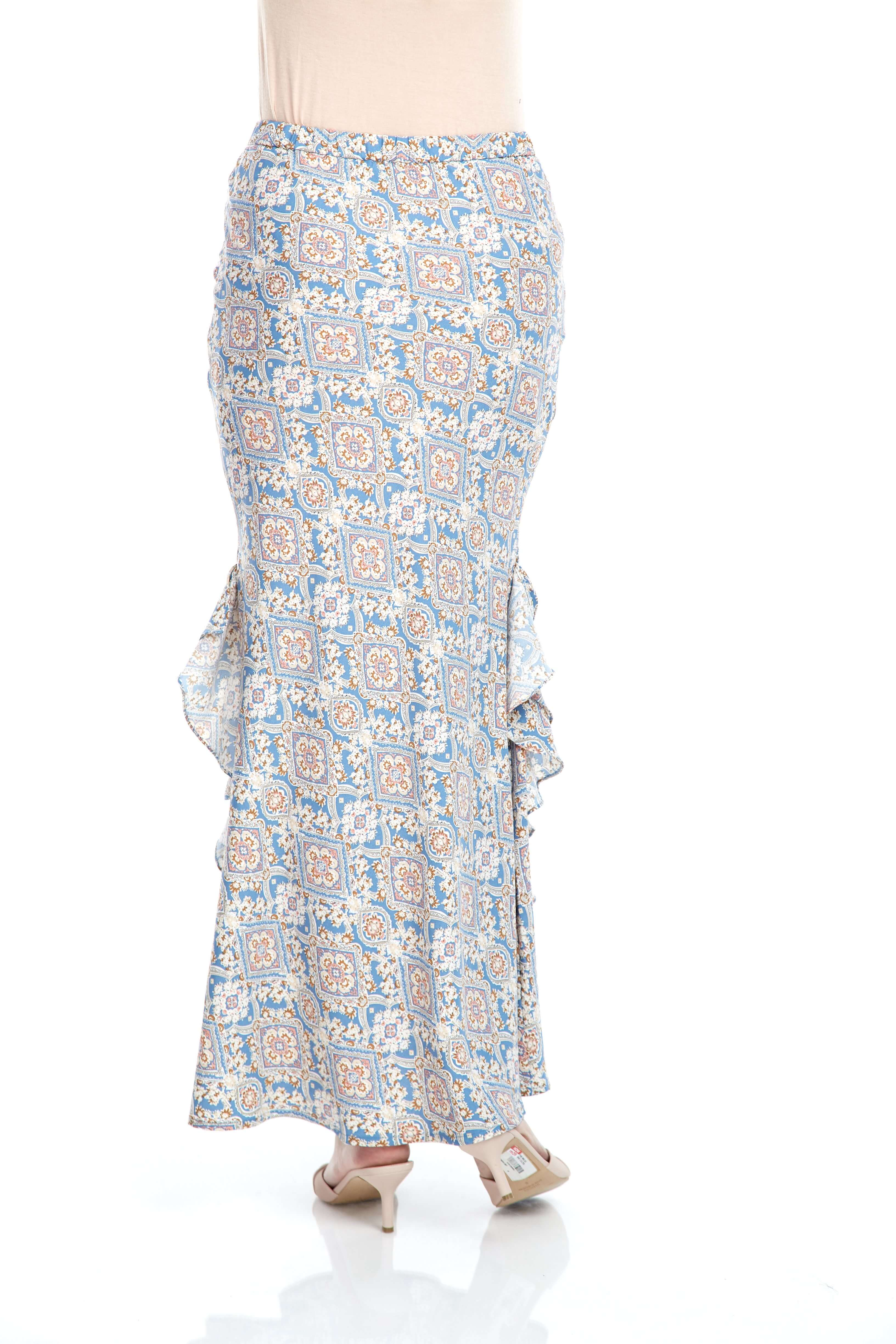 Blue Printed Ruffle Mermaid Skirt (5)