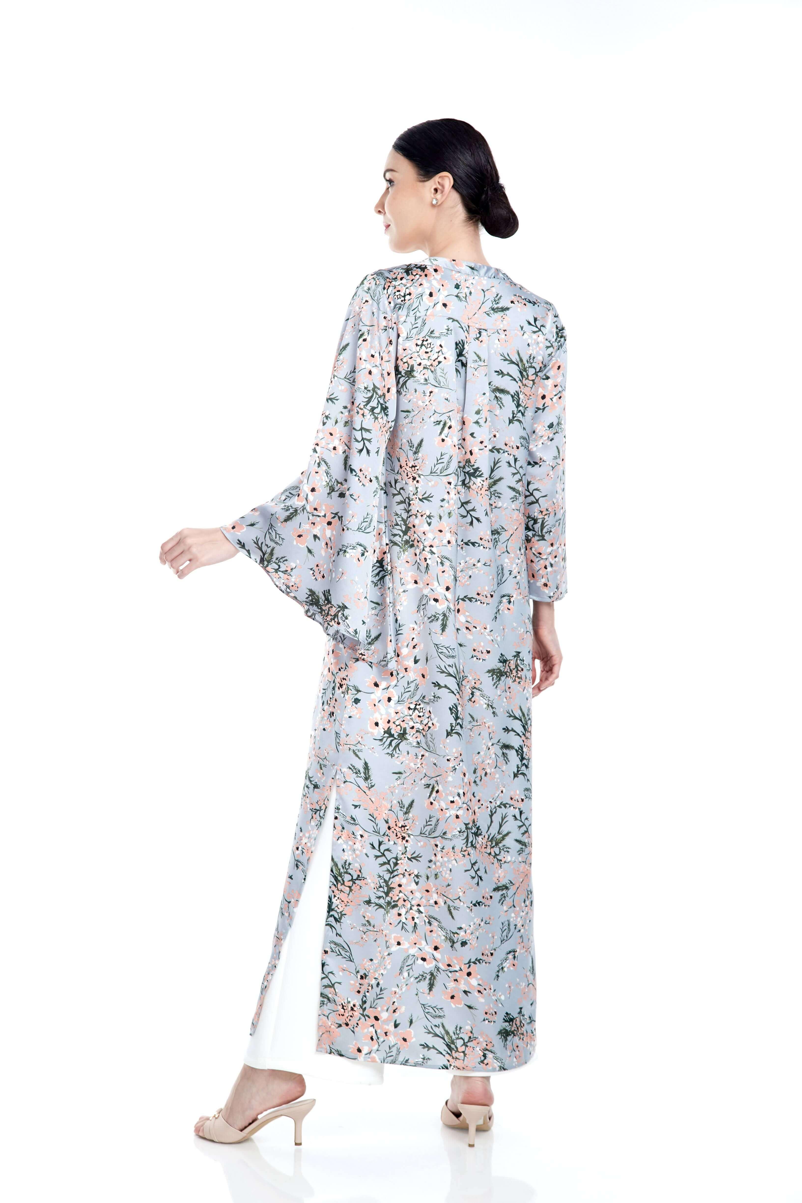 Grey Pink Flower Dress With Asymmetrical Sleeve