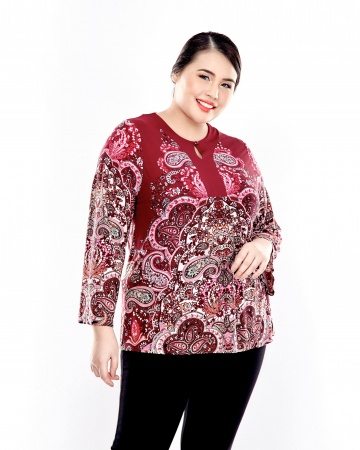 Maroon Printed Top With Button Front