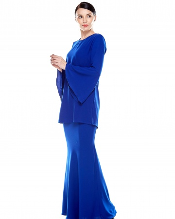 Royal Blue Round Neck Blouse With Bell Sleeve
