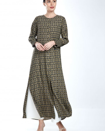 Army Green Printed Long Dress With Smocking Sleeve