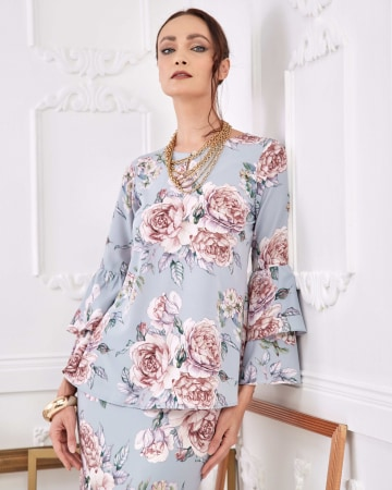Ashley Blue Rose Blouse