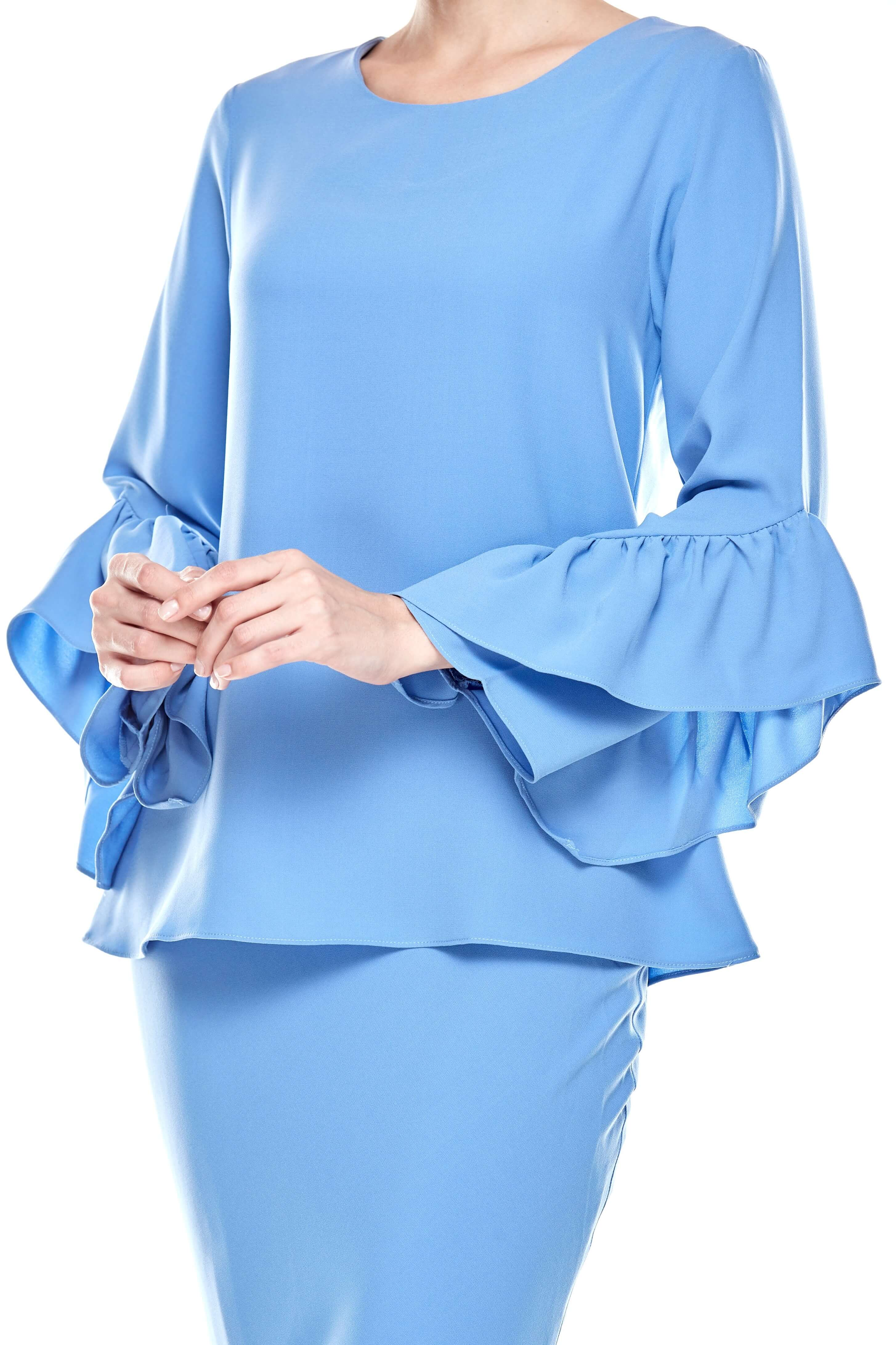 Baby Blue Round Neck Top With Ruffle Sleeve (2)