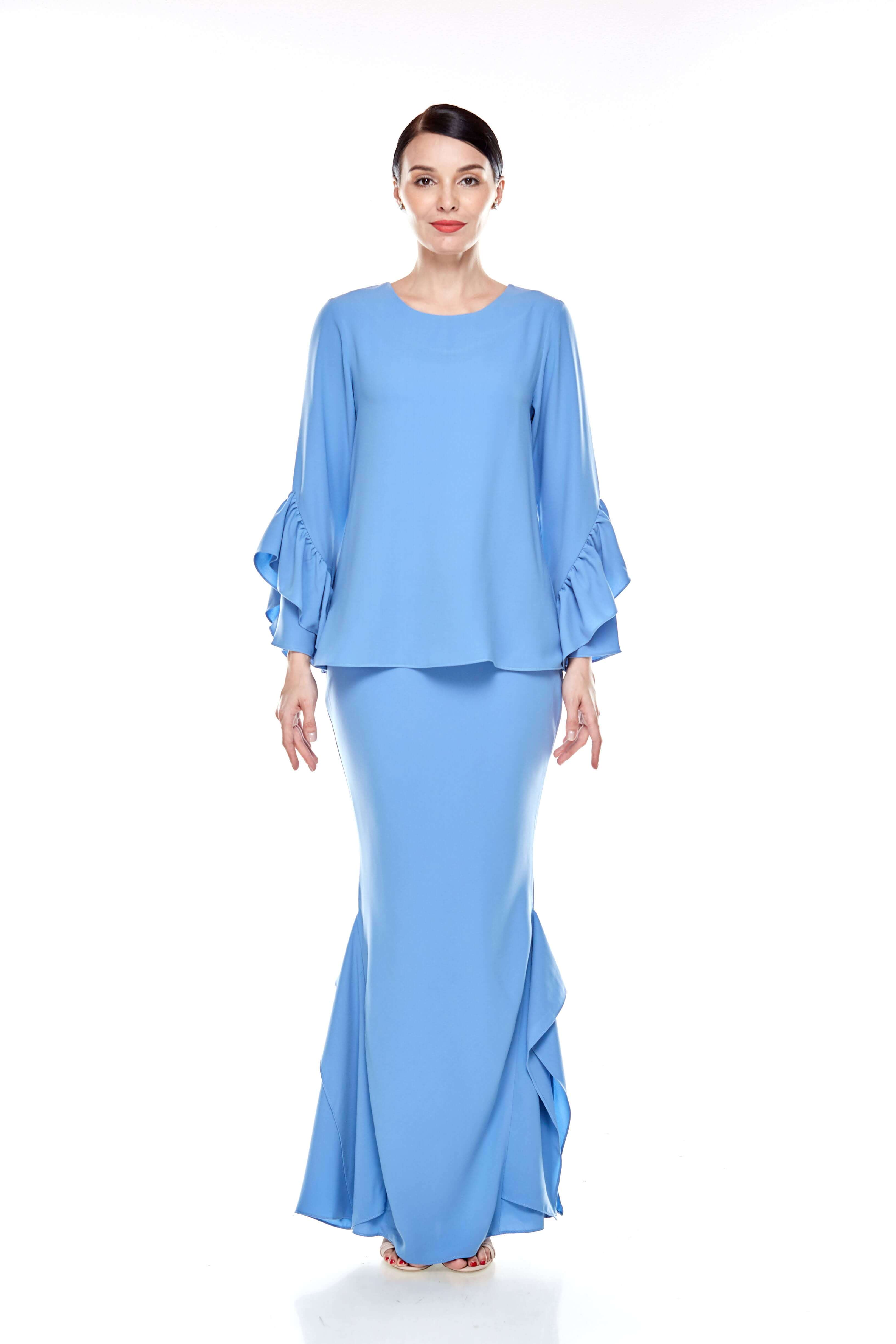 Baby Blue Round Neck Top With Ruffle Sleeve (3)
