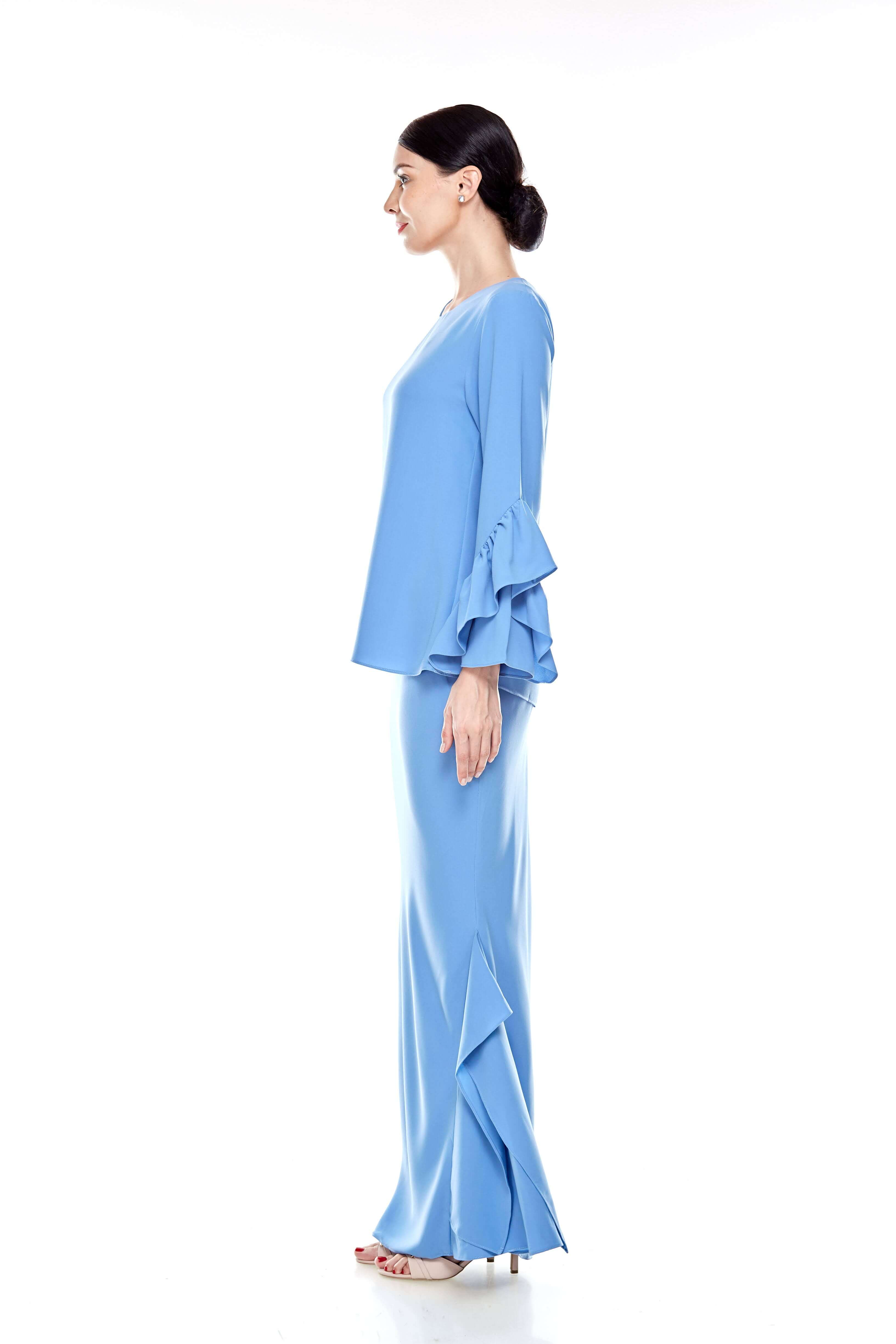 Baby Blue Round Neck Top With Ruffle Sleeve (4)