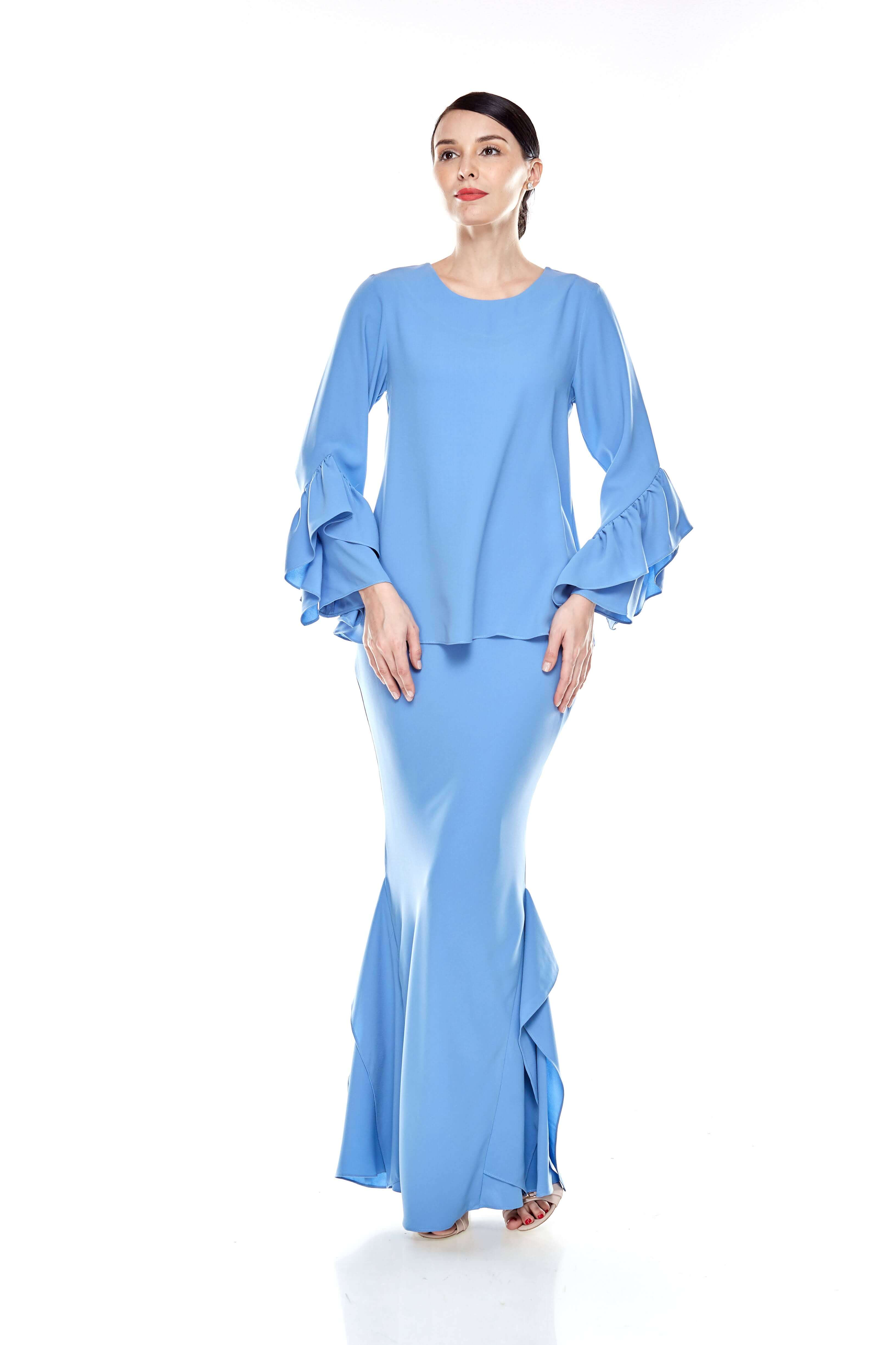 Baby Blue Round Neck Top With Ruffle Sleeve (6)