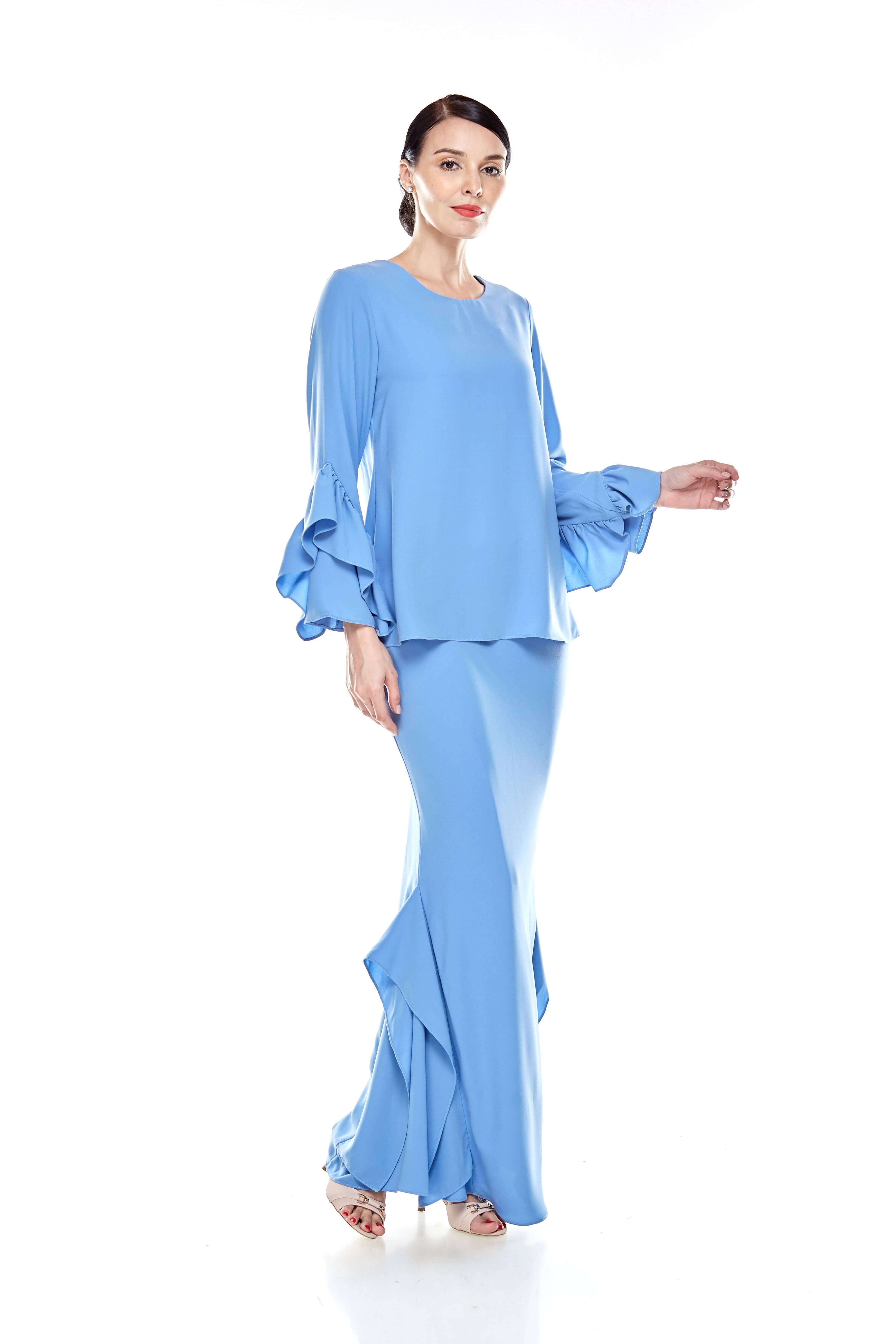 Baby Blue Round Neck Top With Ruffle Sleeve