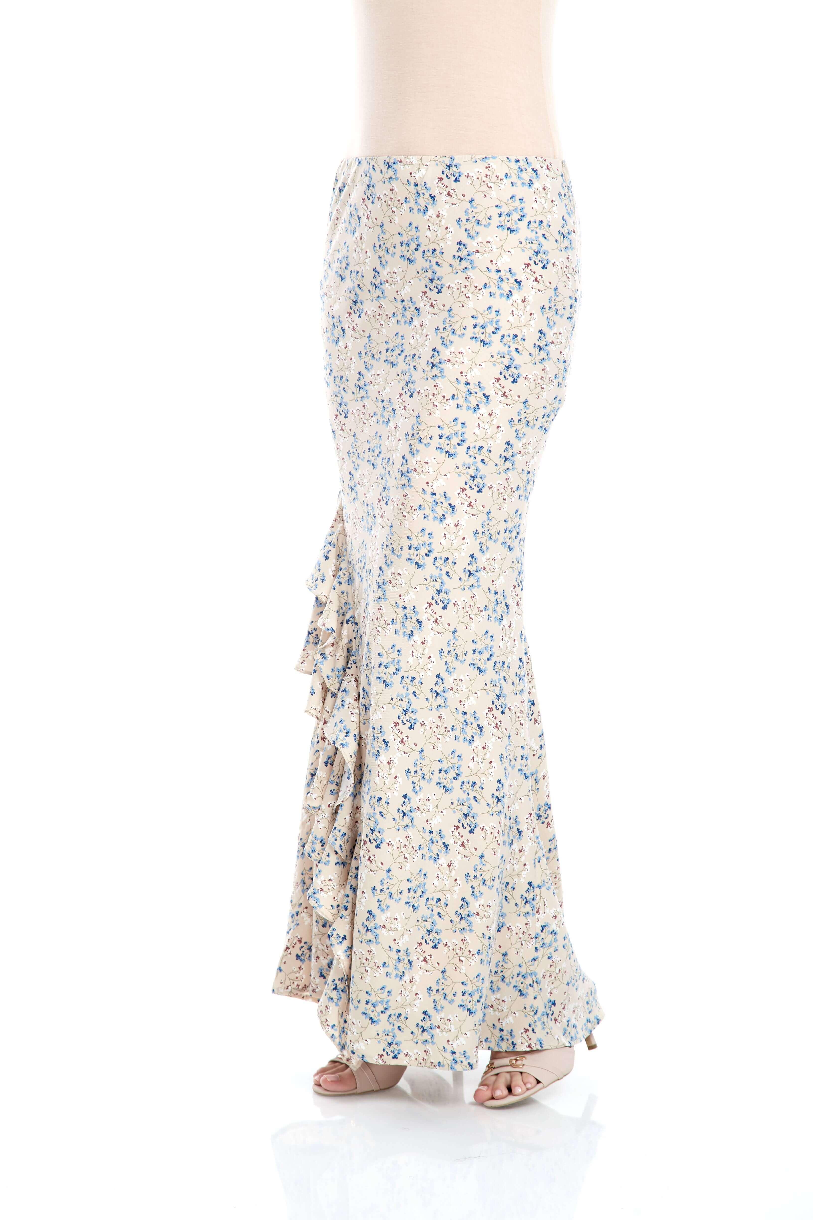 Beige Floral Ruffle Skirt (2)