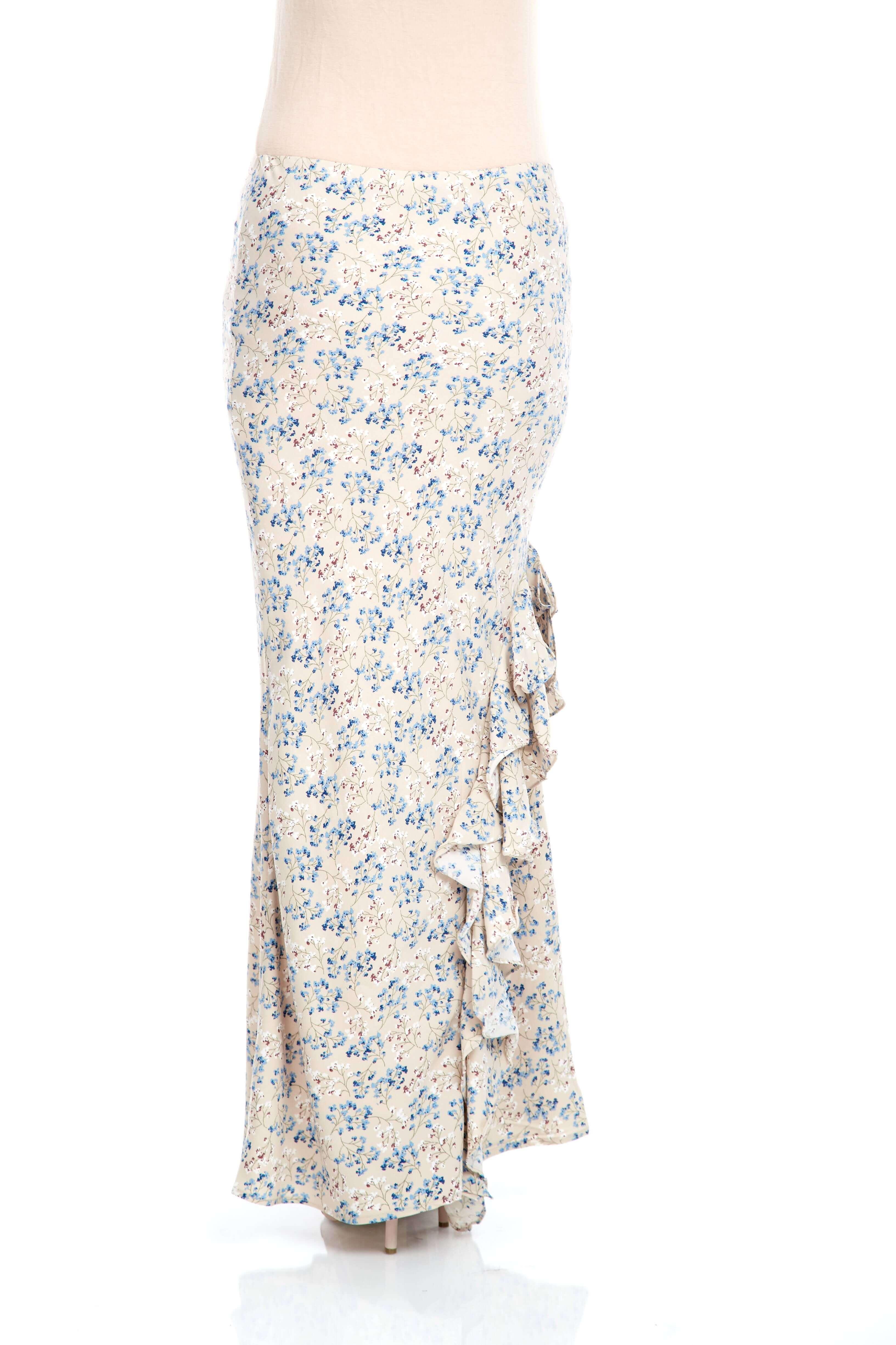 Beige Floral Ruffle Skirt (3)