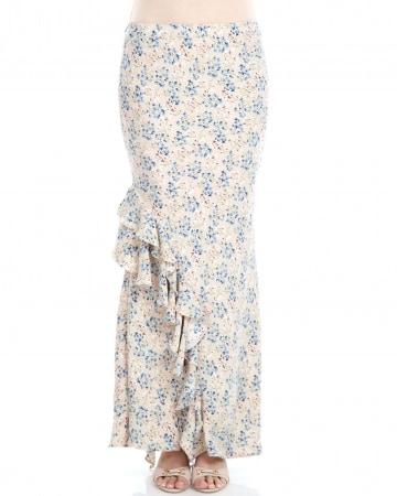 Beige Floral Ruffle Skirt