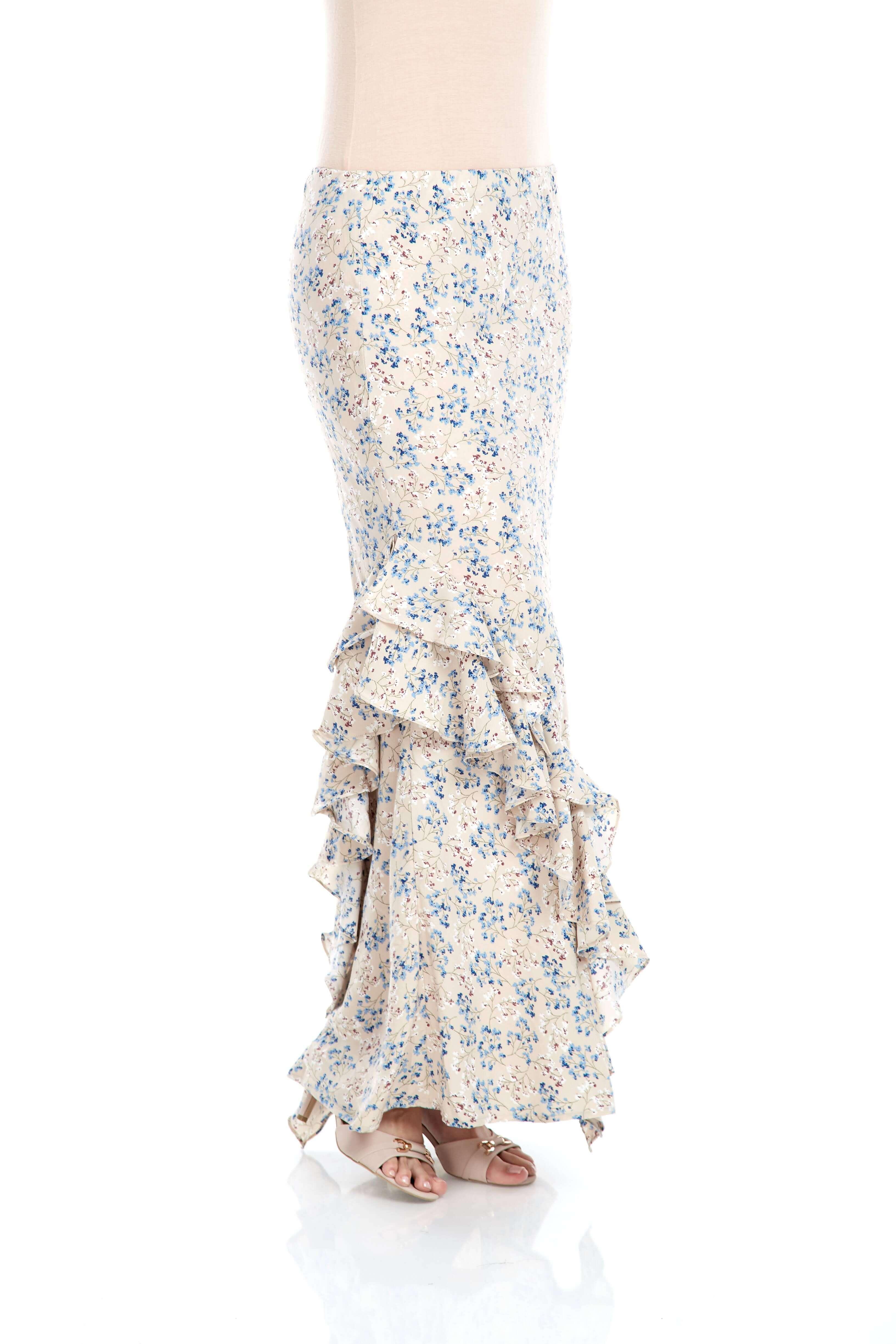 Beige Floral Ruffle Skirt (4)