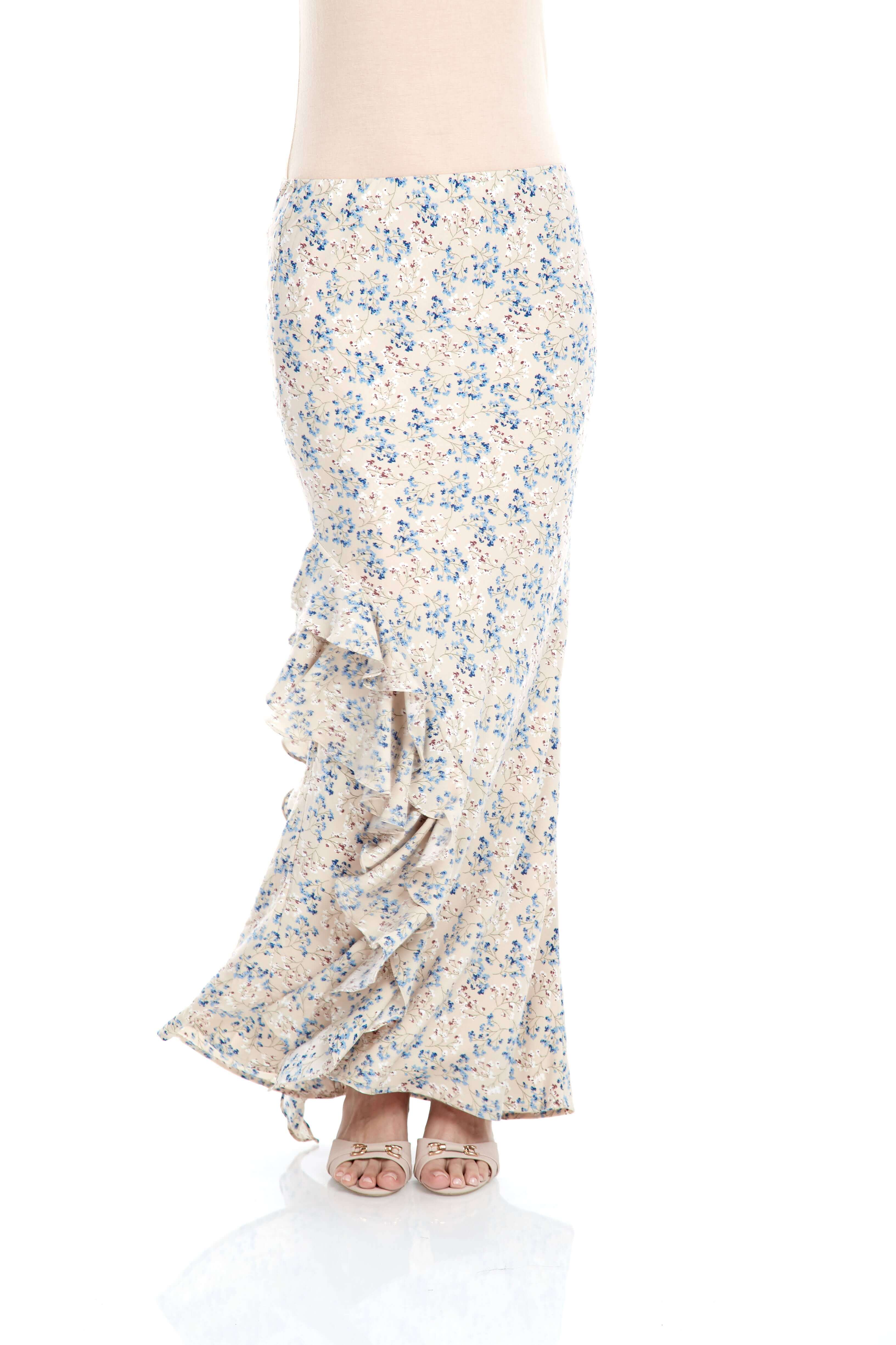 Beige Floral Ruffle Skirt (5)