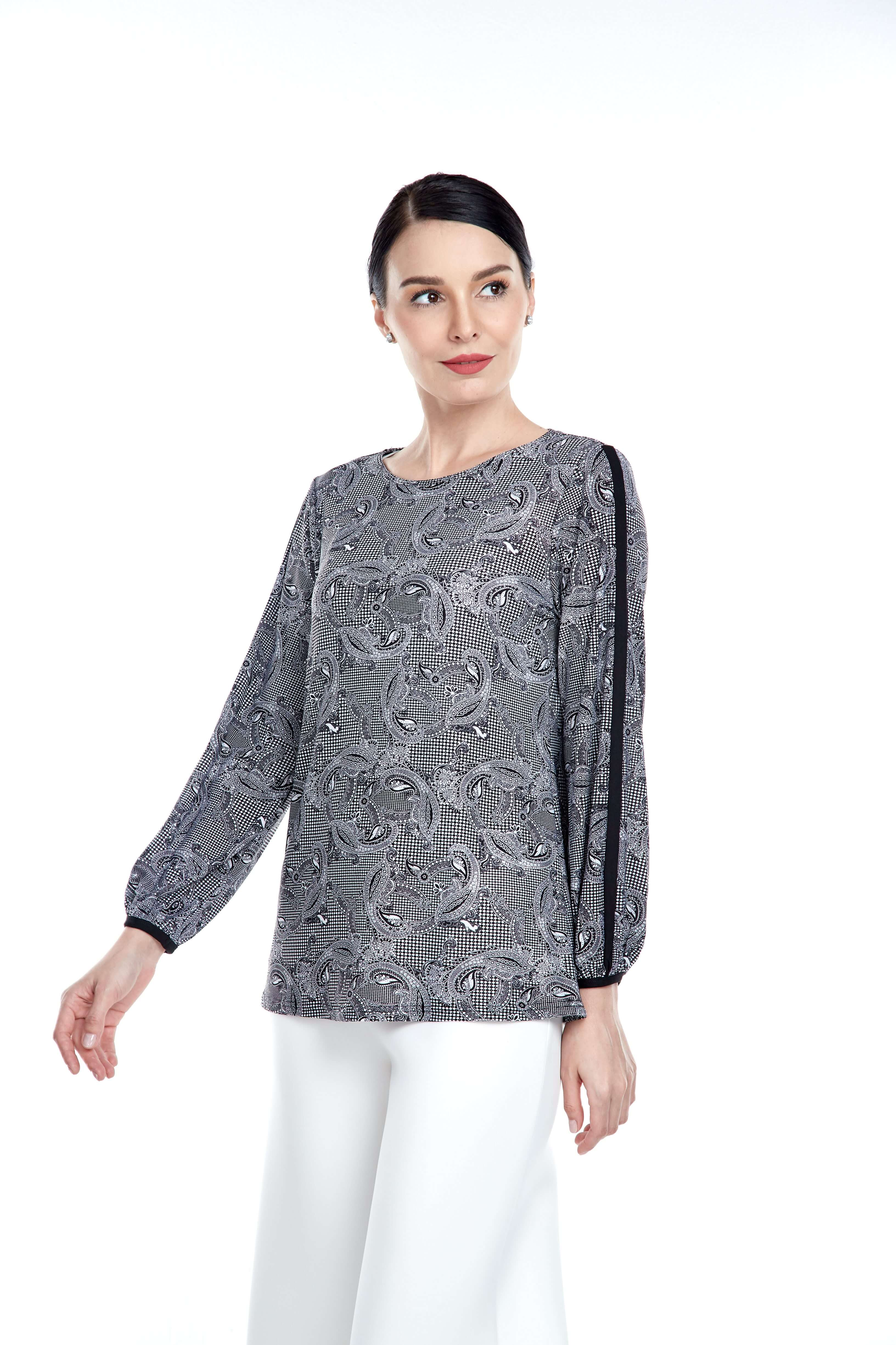 Black Pasley Round Neck Blouse With Piping Sleeve (2)