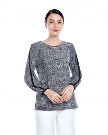 Black Pasley Round Neck Blouse With Piping Sleeve