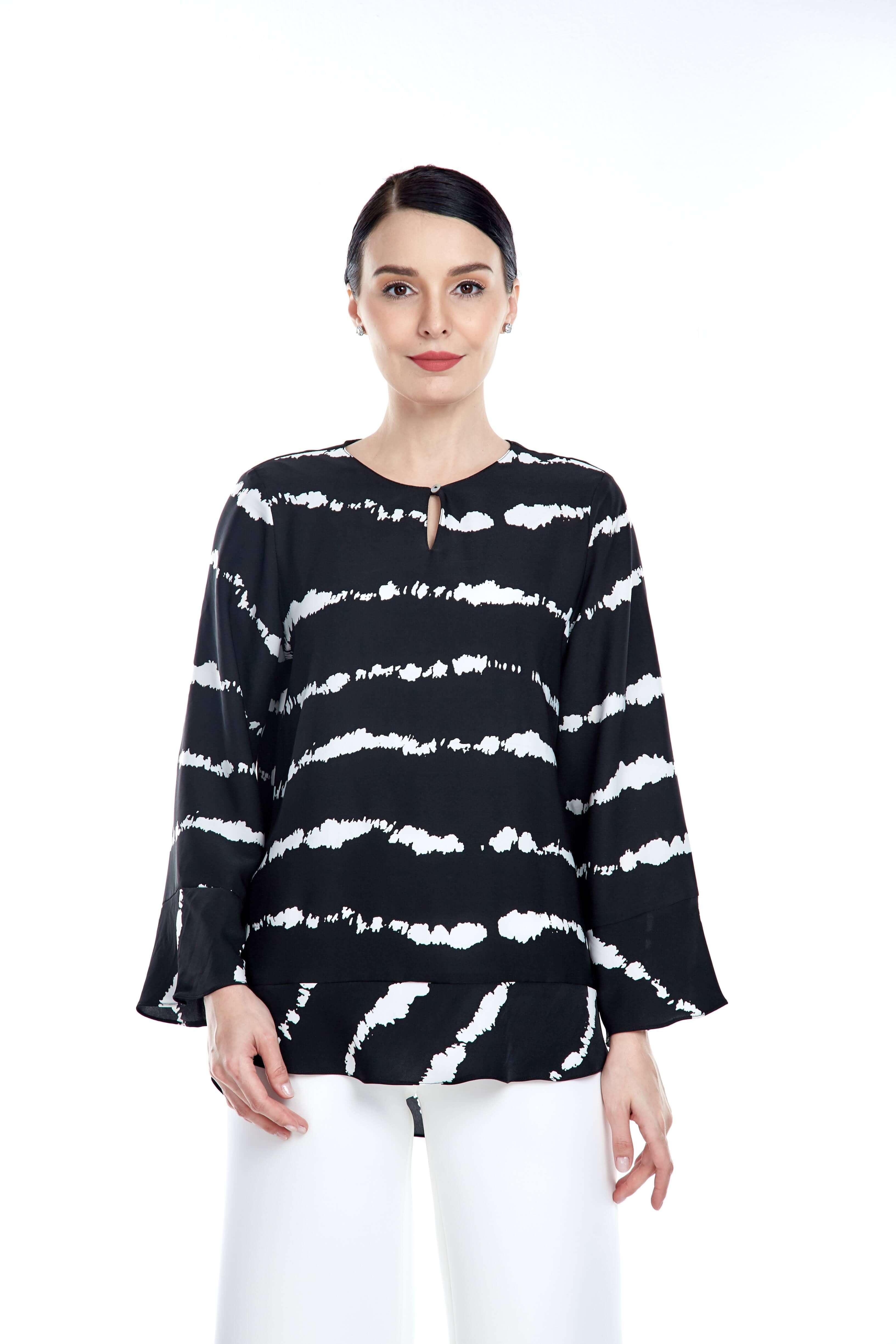 Black-White Stripe Round Neck Blouse (5)