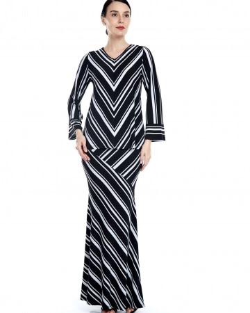 Black-White Striped V Neck Top