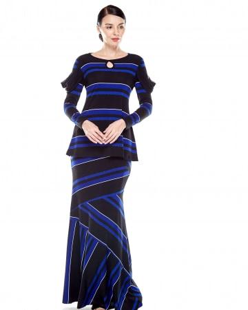 Blue-Black Striped Drape Chiffon Sleeve Top