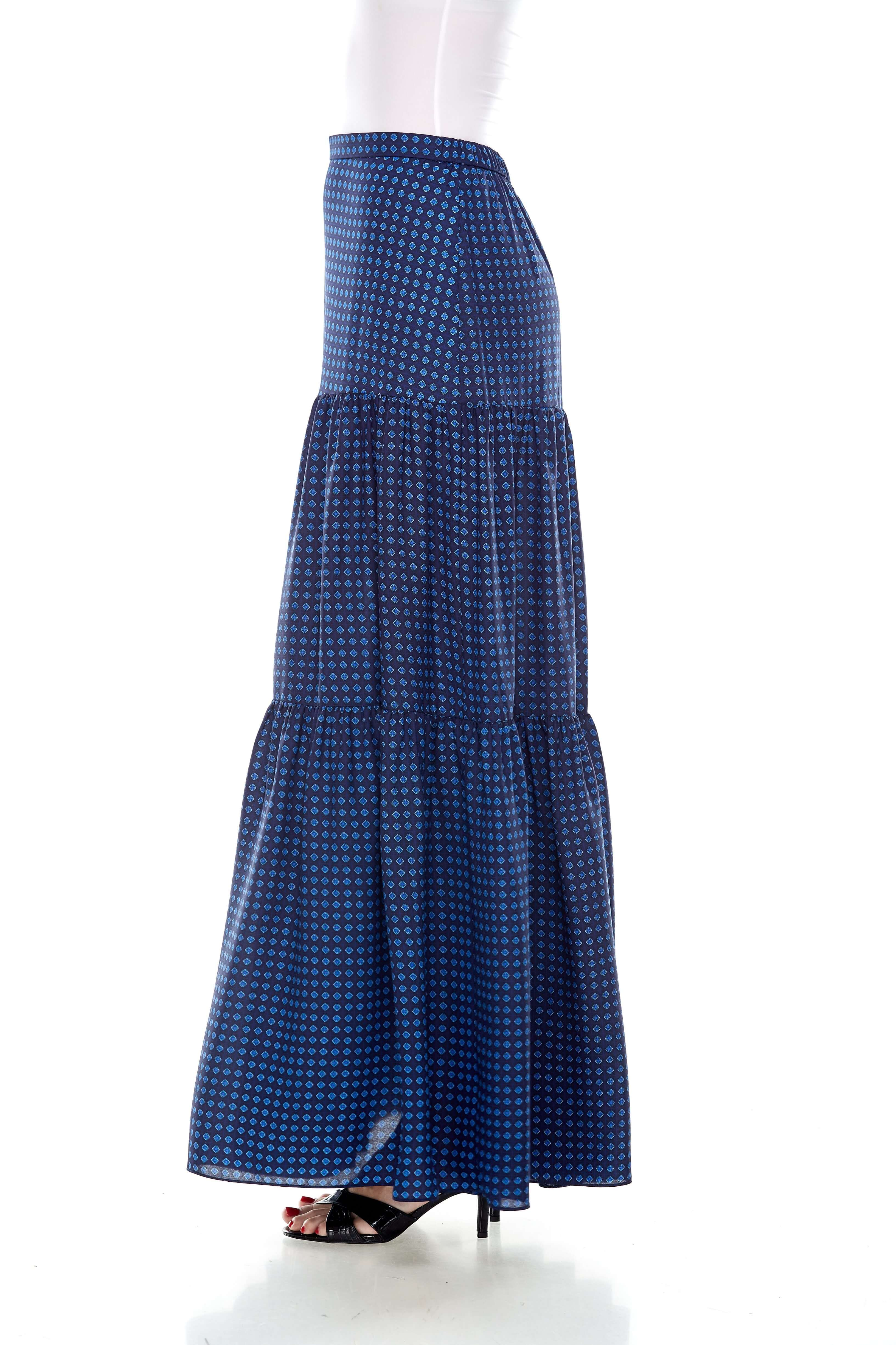 Blue Printed Tiered Skirt (2)