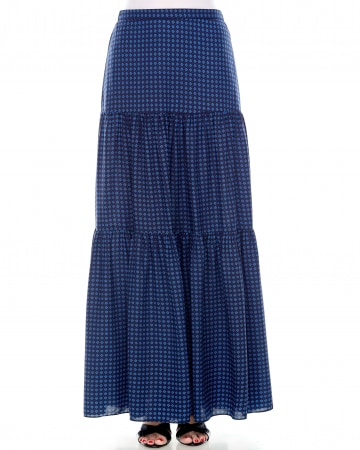 Blue Printed Tiered Skirt