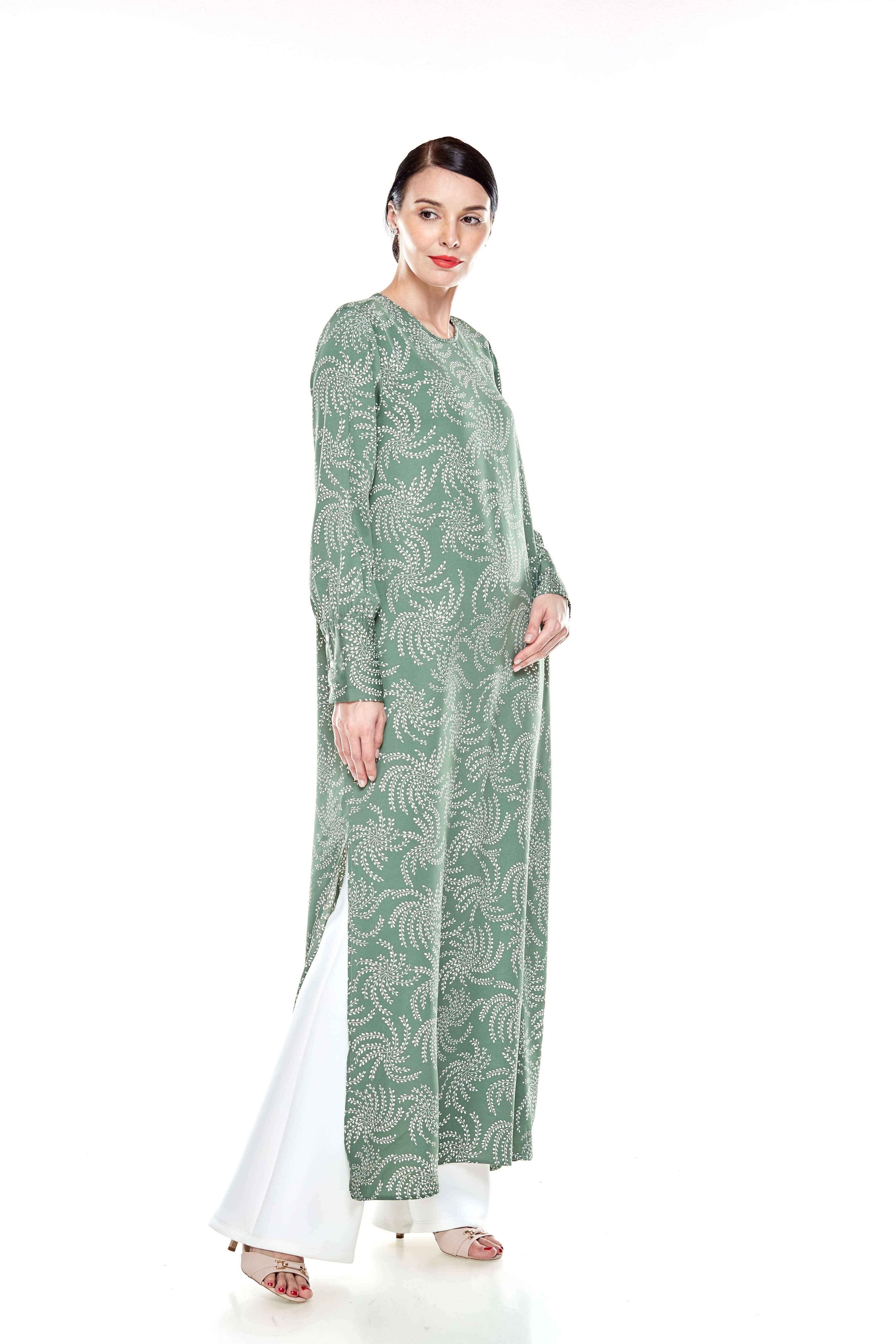 Wanis Green Printed Dress
