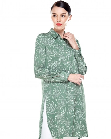 Wanis Green Printed Blouse