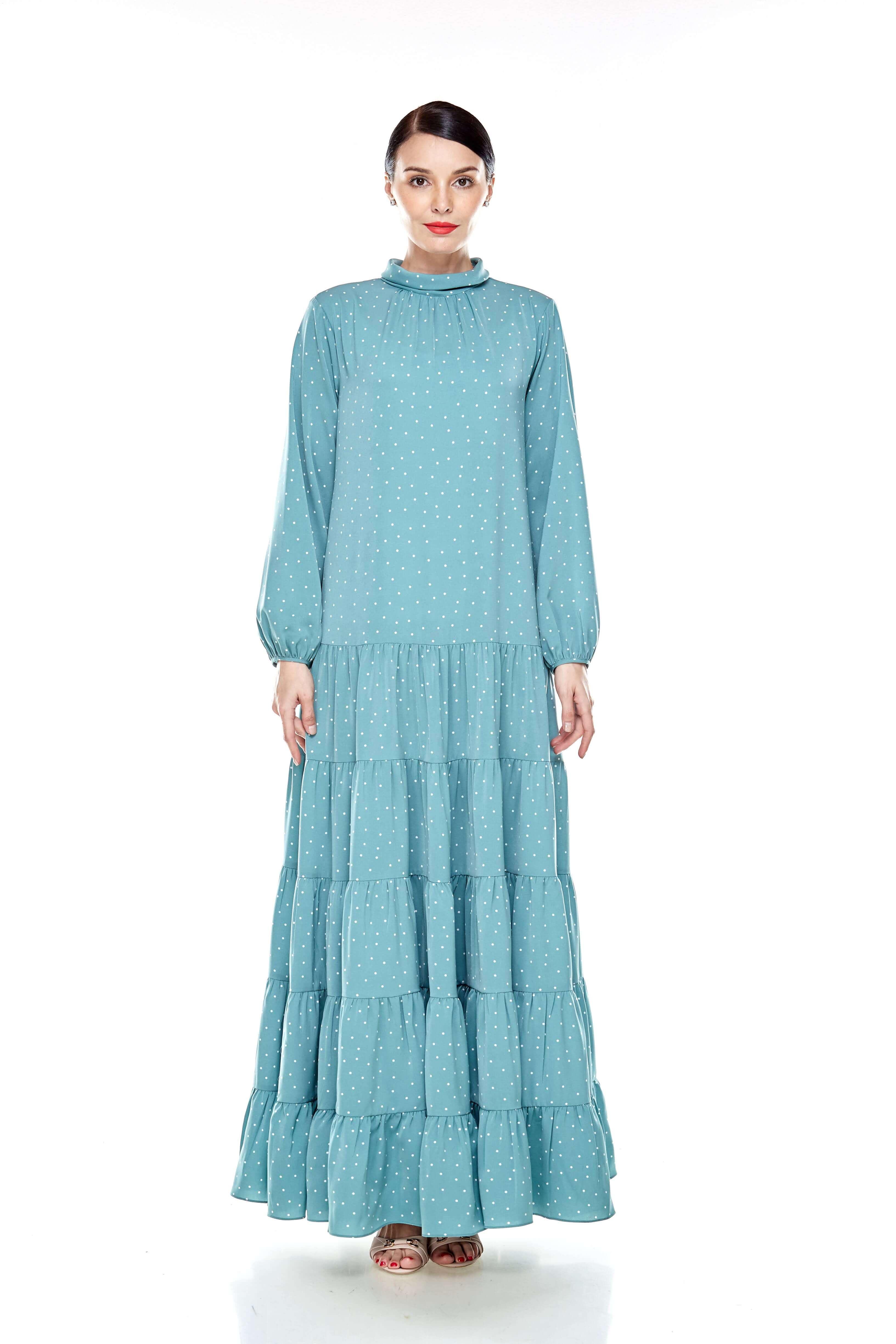 Mint Polka Dot Stand Collar Tier Dress (3)