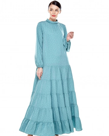Mint Polka Dot Stand Collar Tier Dress