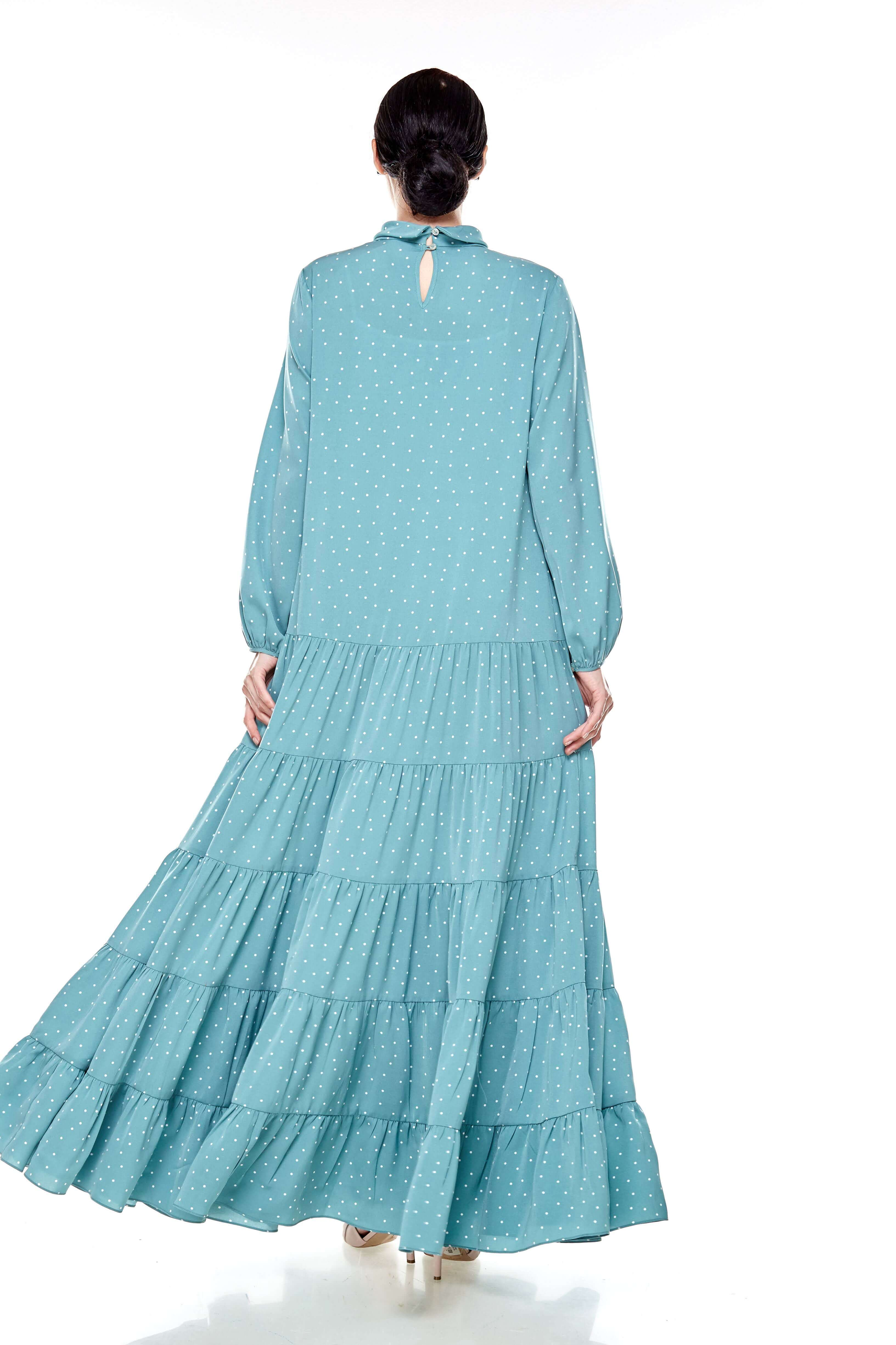 Mint Polka Dot Stand Collar Tier Dress (4)