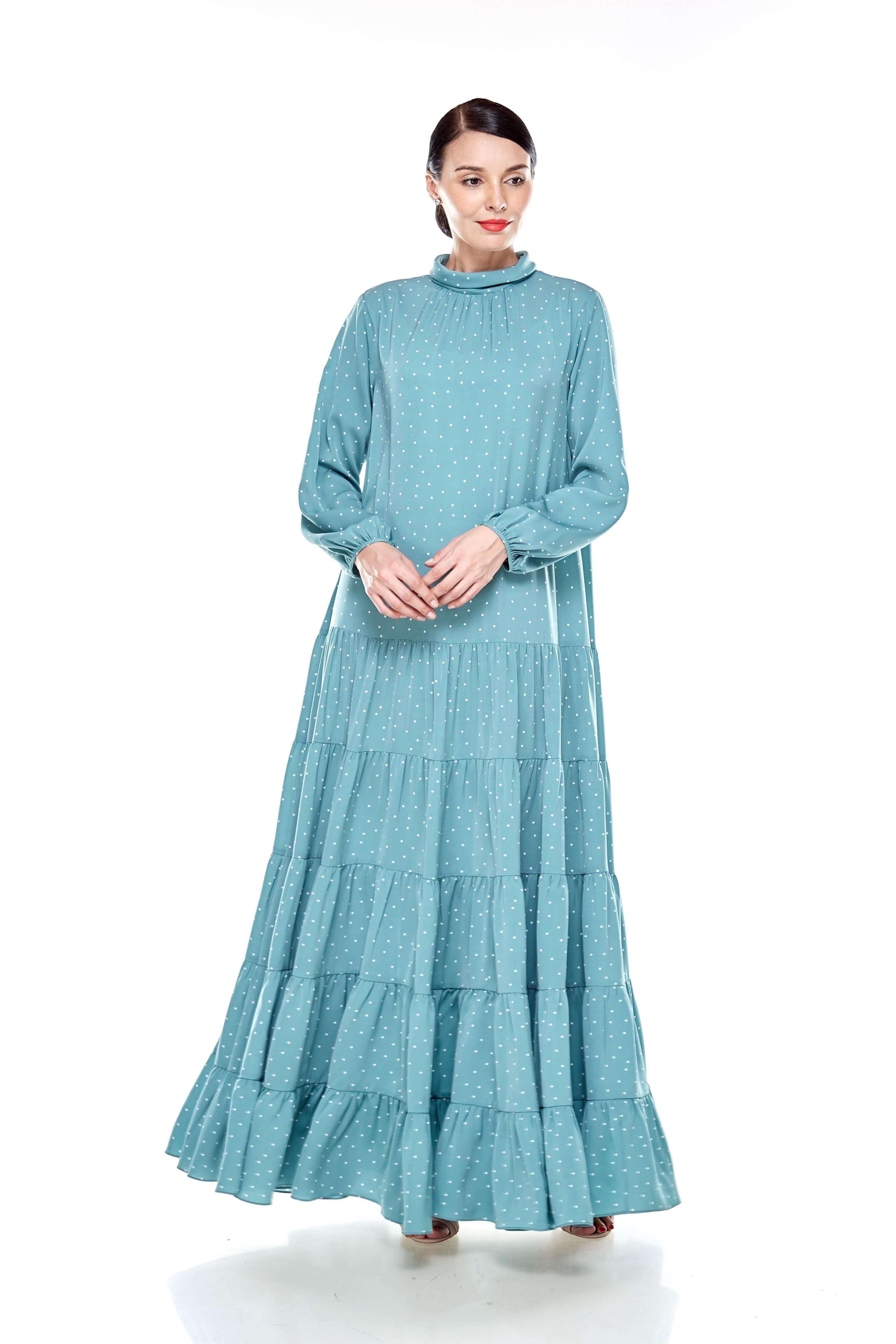 Mint Polka Dot Stand Collar Tier Dress (6)