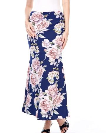 Ashley Navy Rose Skirt
