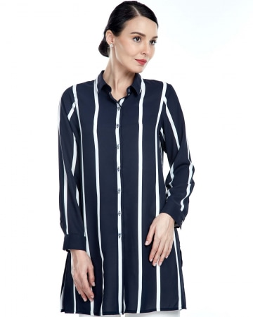 Elia Navy Stripe Shirt Blouse
