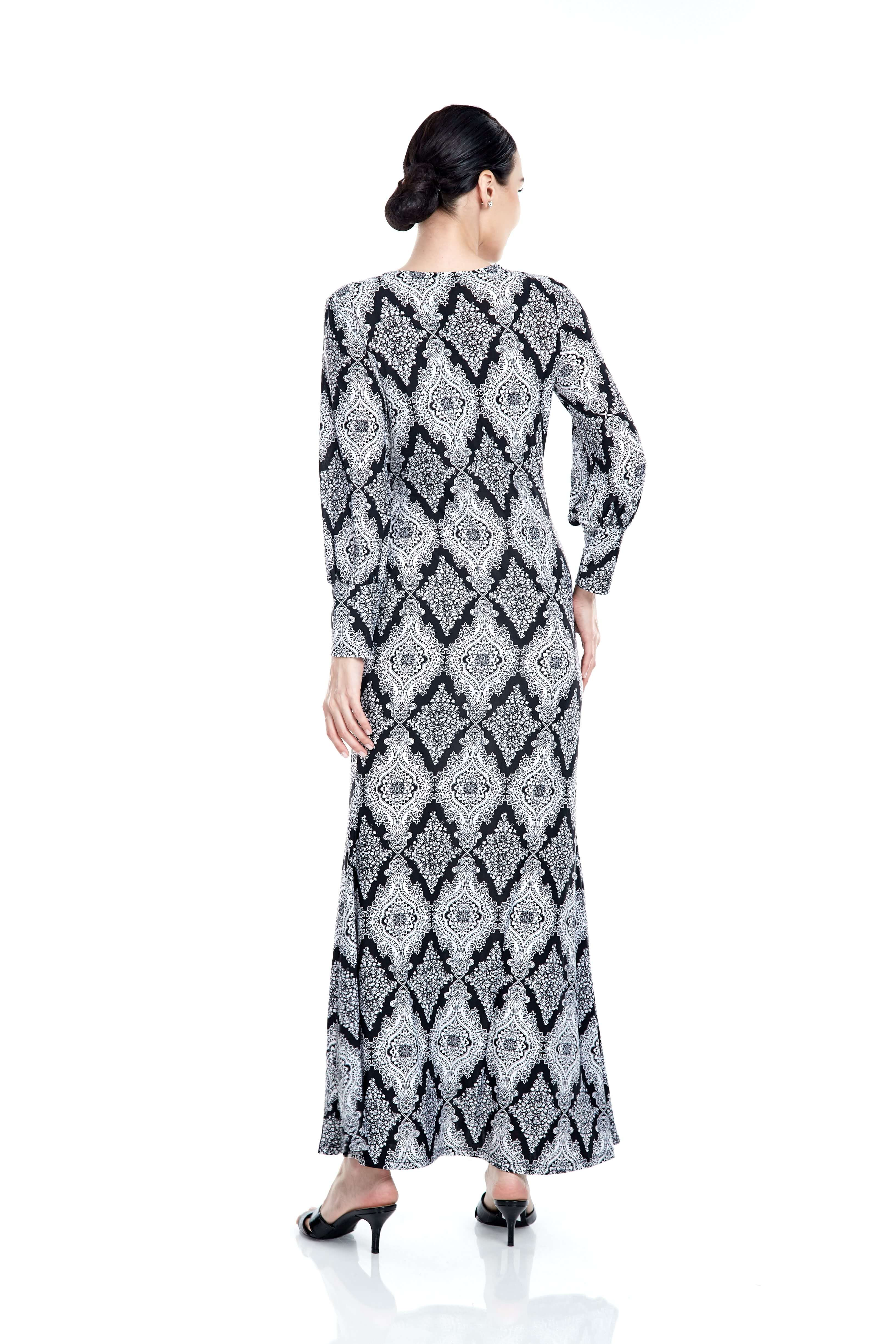 Elisa Black Printed Dress 1