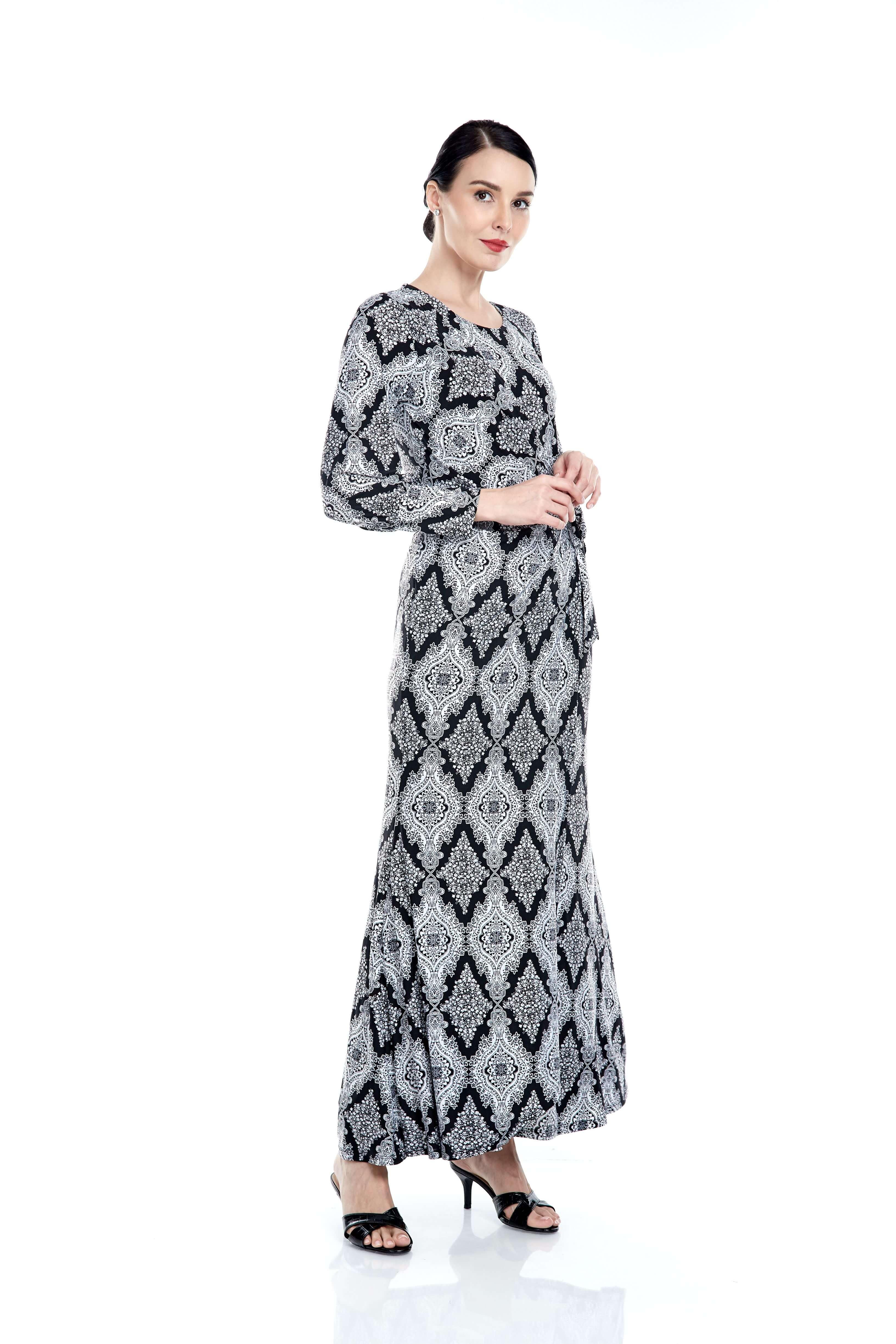 Elisa Black Printed Dress 2