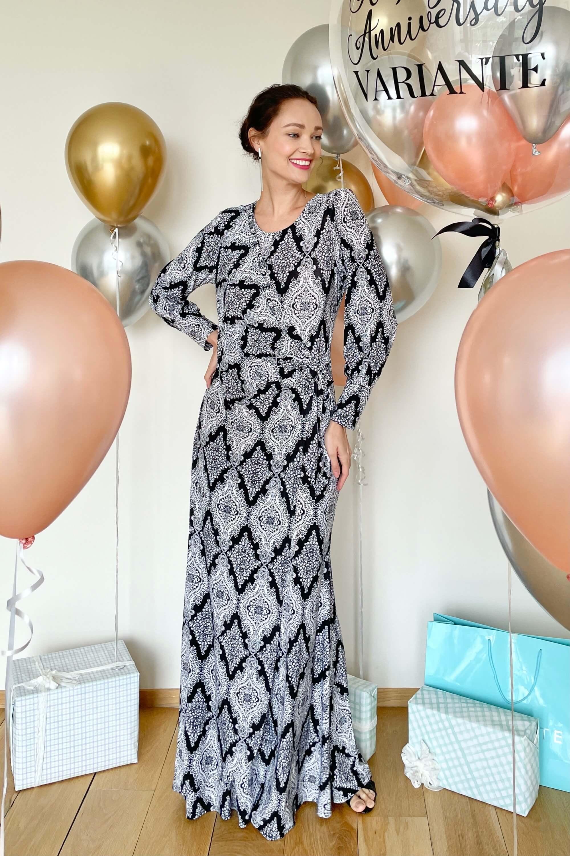 Elisa Black Printed Dress