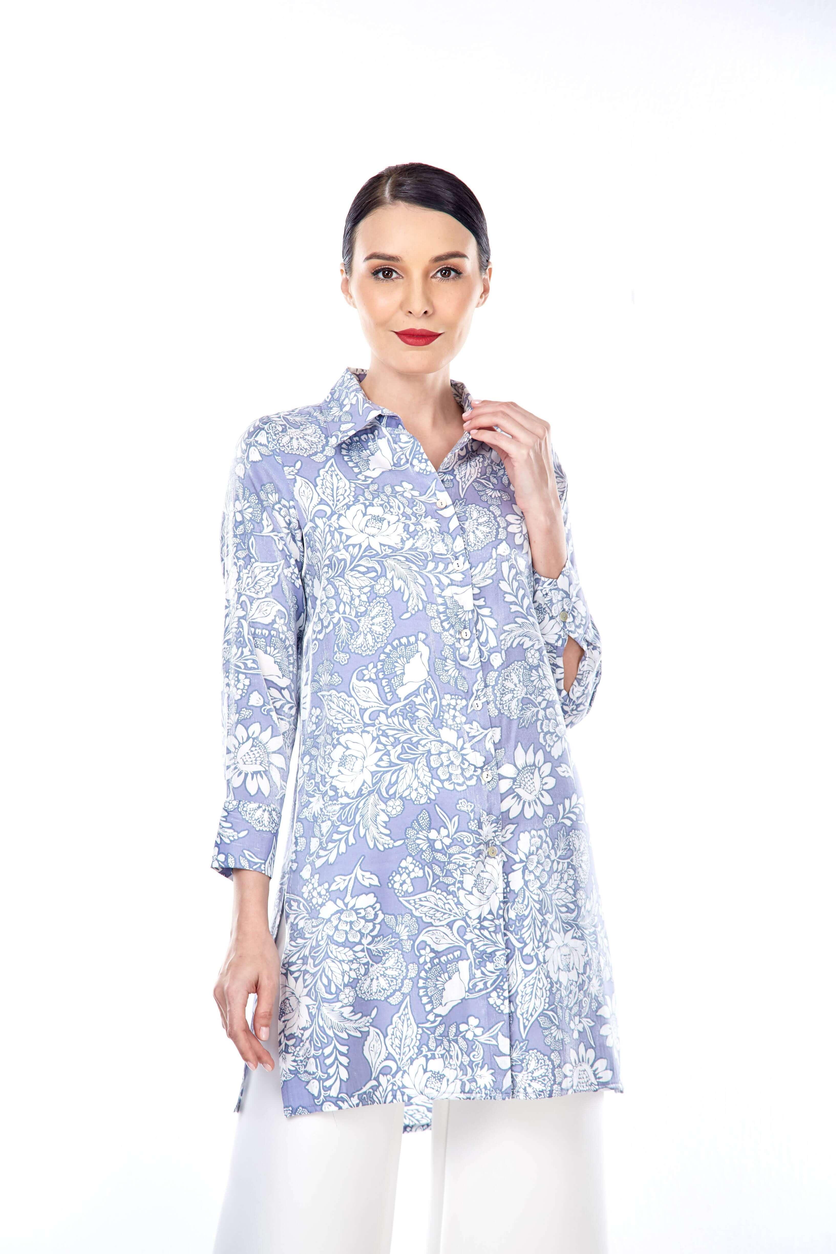 Haida Purple Flower Shirt Blouse 5