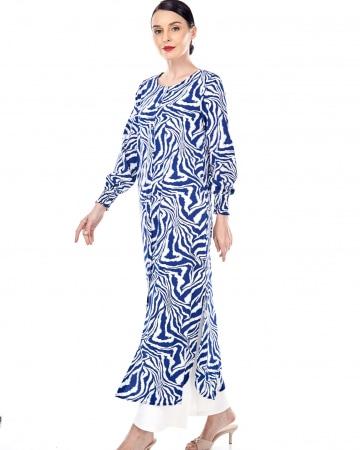 Izbell Blue Printed Dress