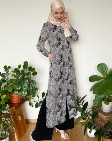 Leena Black Printed Dress