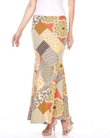 Malaika Patchwork Printed Skirt