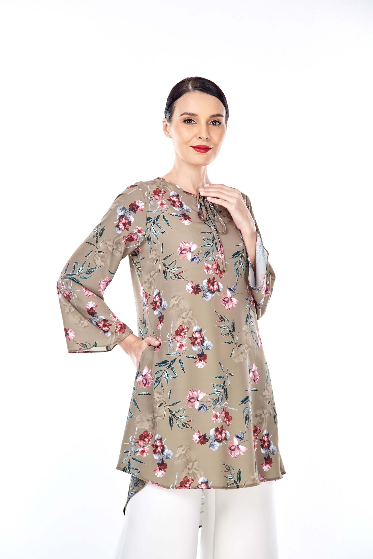 Salwa Olive Green Flower Tunic