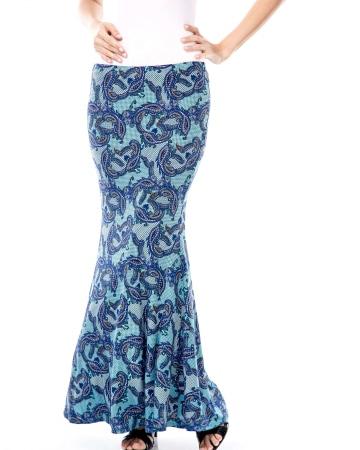 Wilda Turquoise Paisley Skirt