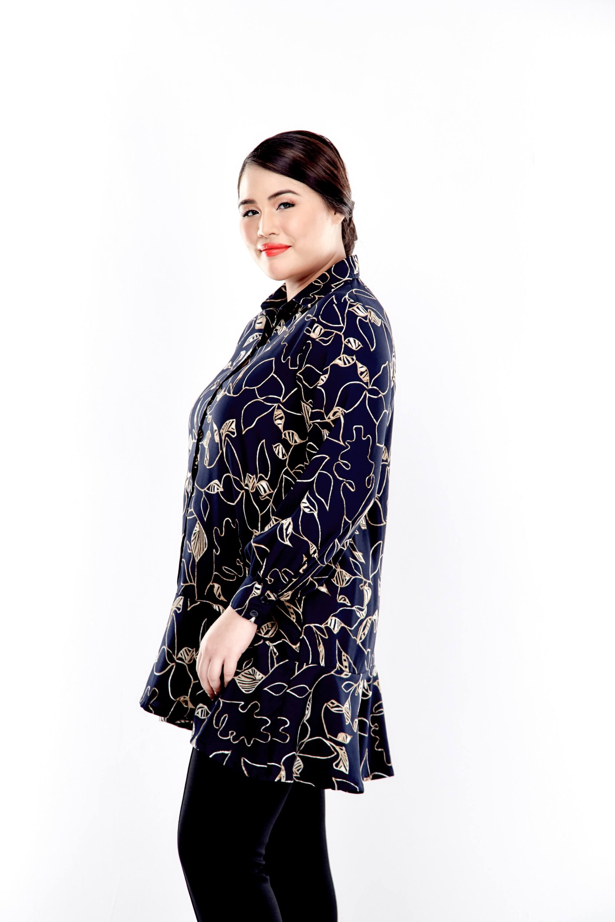 Black Printed Button Up Blouse With Long Puff Sleeve 2